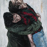Yusuf Carries his Executed Brother Adem / Srebrenica 1995, 120 x 85 cm, oil on canvas