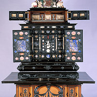 Art cabinet made in Augsburg, Germany 1625-1631. It is filled with thousands of wonderful, odd artifacts and permanently on display at Uppsala University in Sweden.