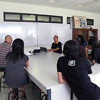 Meeting with Prof. Irfan D. Prijambada and the HONF crew at Gadjah Mada University in Yogyakarta to discuss collaboration for the upcoming artist residency project on Mount Merapi volcano.